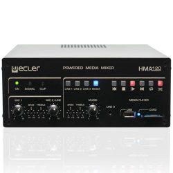 Mezclador y reproductor autoamplificado Ecler HMA120 Frontal