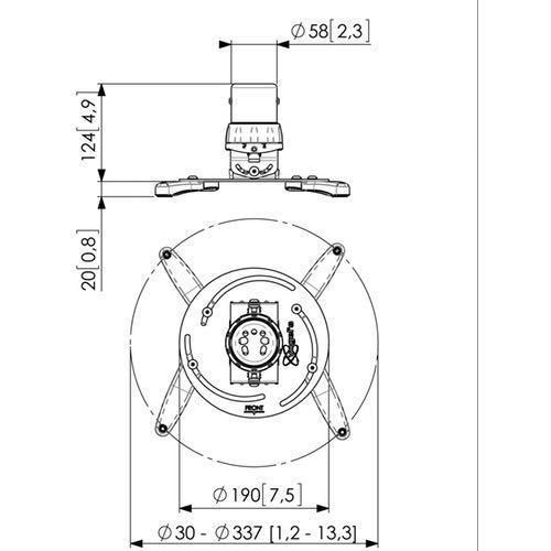 Medidas del soporte de techo para proyector VOGELS PPC 1500