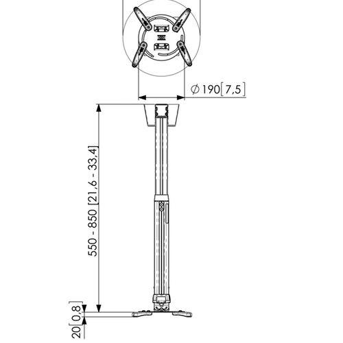 Soporte de techo para proyector VOGEL'S PPC 1555 Medidas