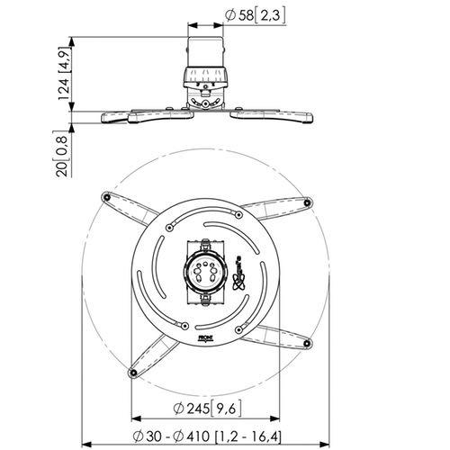 Soporte de techo para proyector VOGEL'S PPC 2500 Medidas