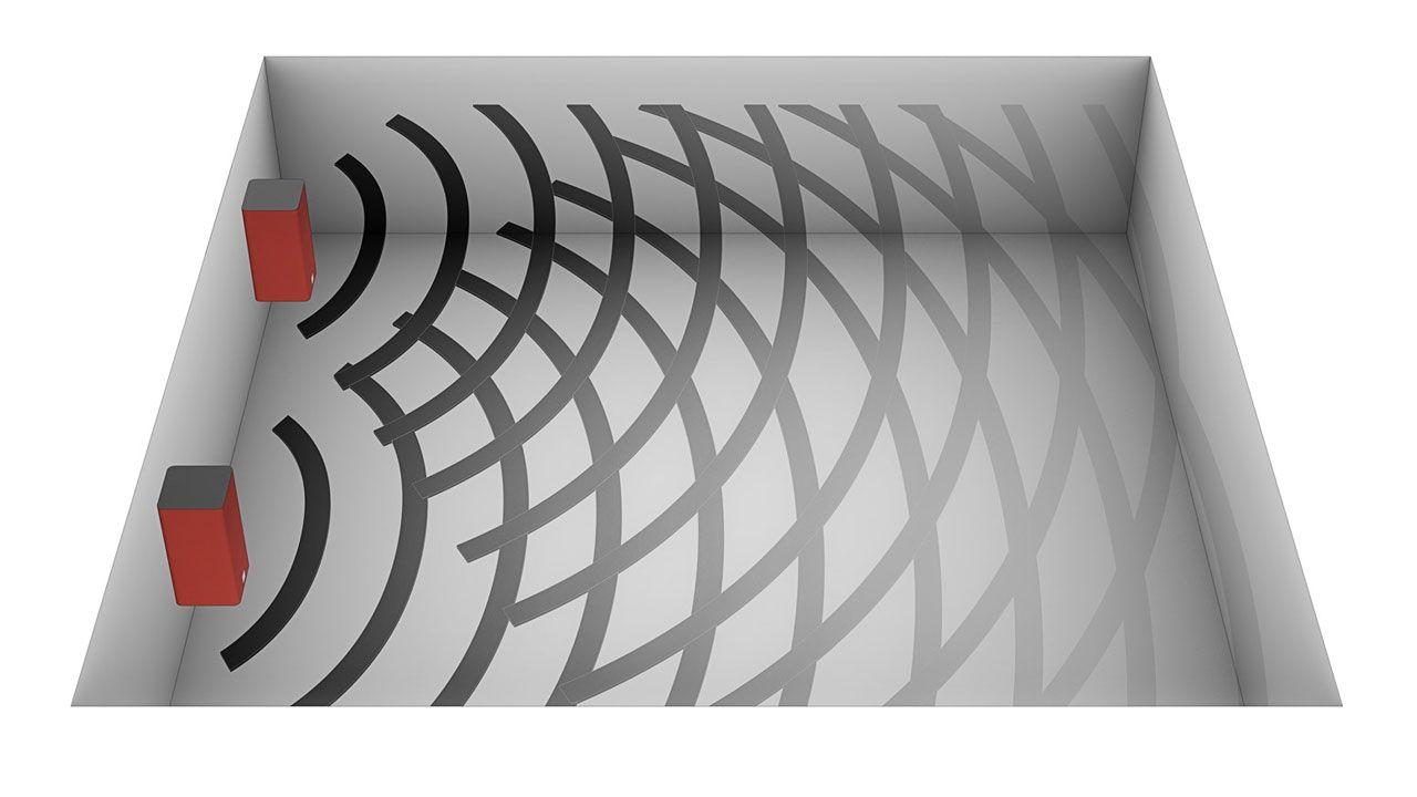 Ondas sonoras de un sistema estéreo Kubik
