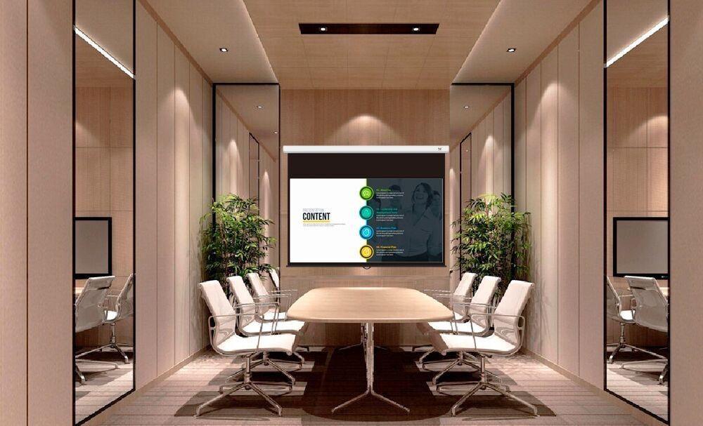 Pantalla de proyección Seemax en sala de reuniones