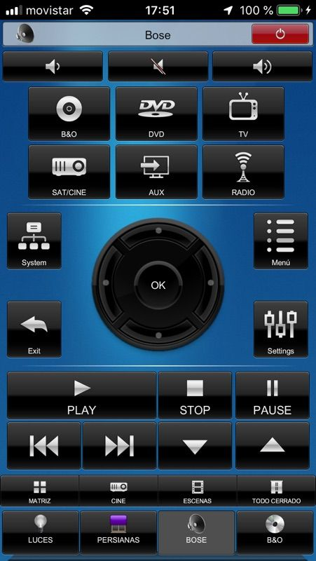Control de sistema de sonido Bose con Crestron